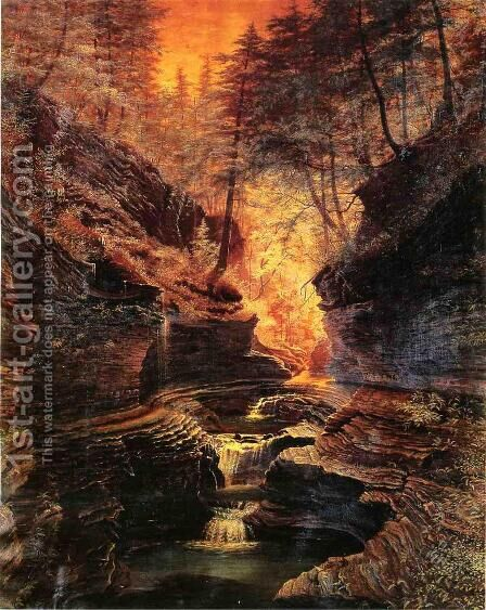Rainbow Falls, Watkins Glen, New York by James Hope - Reproduction Oil Painting