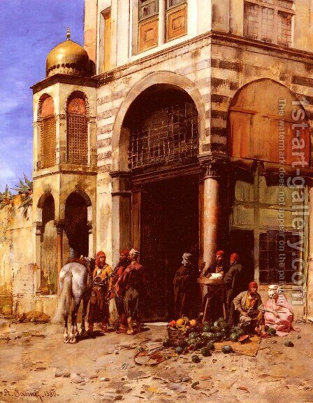 The Fruitmarket by Alberto Pasini - Reproduction Oil Painting