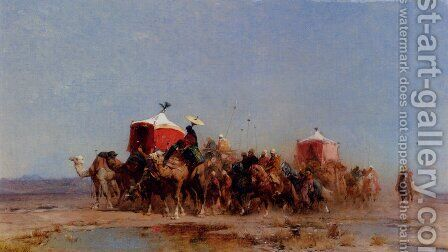 Caravan In The Desert by Alberto Pasini - Reproduction Oil Painting