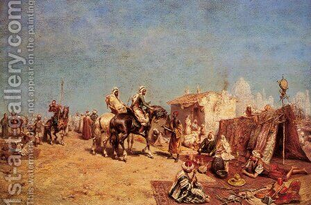 An Arab Encampment by Alberto Pasini - Reproduction Oil Painting