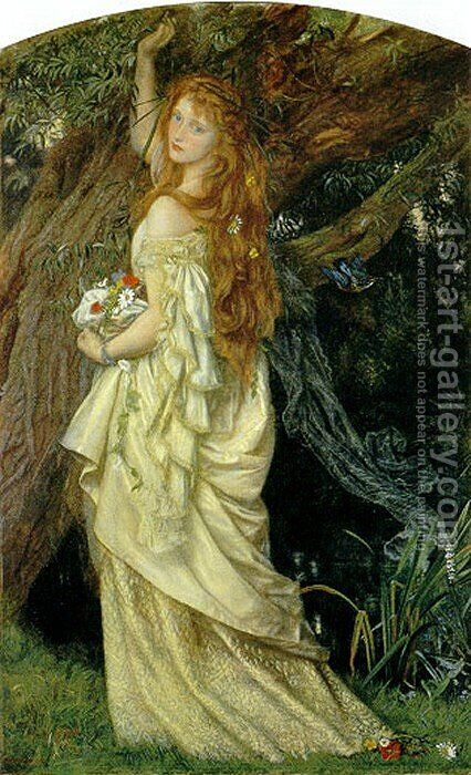 Ophelia ('And will he not come again?') by Arthur Hughes - Reproduction Oil Painting