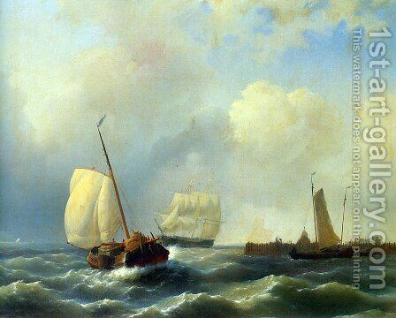 Skirting the Coast on a Breezy Day by Abraham Hulk Snr - Reproduction Oil Painting