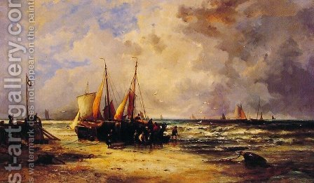 Coming Ashore by Abraham Hulk Snr - Reproduction Oil Painting