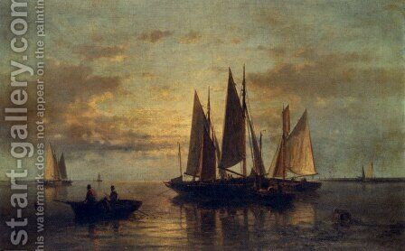Crossing The Harbor by Abraham Hulk Snr - Reproduction Oil Painting