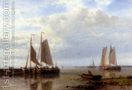 Shipping In A Calm Estuary by Abraham Hulk Snr - Reproduction Oil Painting