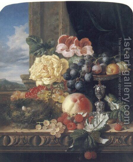 Still Life with Fruit, Flowers and a Bird's Nest by Edward Ladell - Reproduction Oil Painting