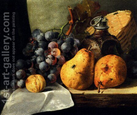 Pears, Grapes, A Greengage, Plums A Stoneware Flask And A Wicker Basket On A Wooden Ledge by Edward Ladell - Reproduction Oil Painting