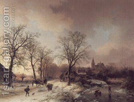 Figures in a Winter Landscape by Barend Cornelis Koekkoek - Reproduction Oil Painting