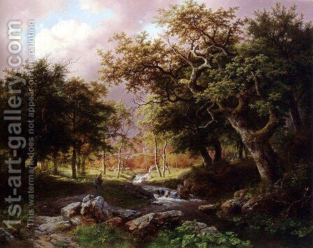 A Wooded Landscape With Figures Along A Stream by Barend Cornelis Koekkoek - Reproduction Oil Painting