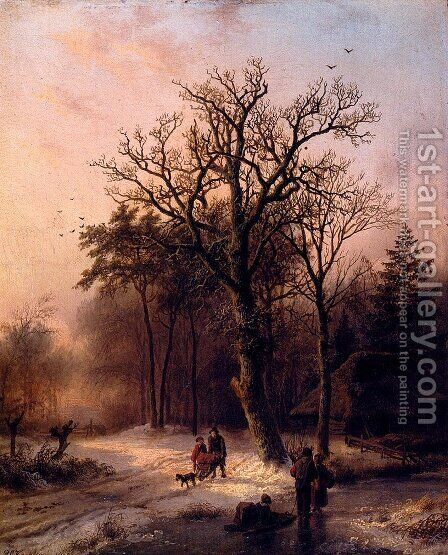 Forest In Winter by Barend Cornelis Koekkoek - Reproduction Oil Painting