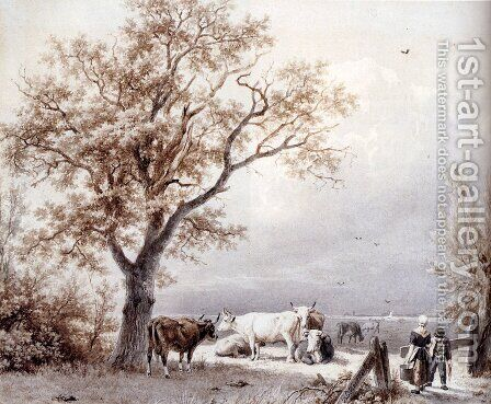 Cows In A Sunlit Meadow by Barend Cornelis Koekkoek - Reproduction Oil Painting