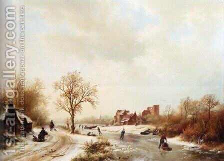 Winterlandschap: A Winter Landscape With Skaters On A Frozen Waterway And Peasants By A Farm In The Foreground by Barend Cornelis Koekkoek - Reproduction Oil Painting
