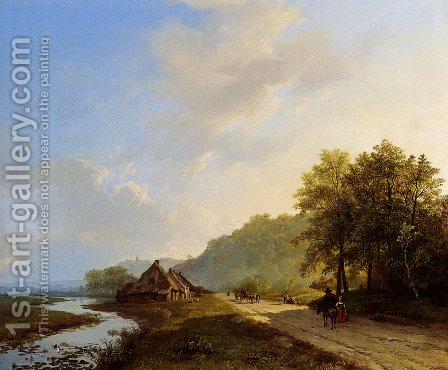A Summer Landscape With Travellers On A Path by Barend Cornelis Koekkoek - Reproduction Oil Painting