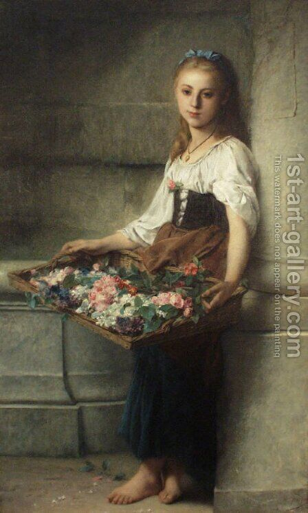 The Flowerseller by Adolphe Jourdan - Reproduction Oil Painting