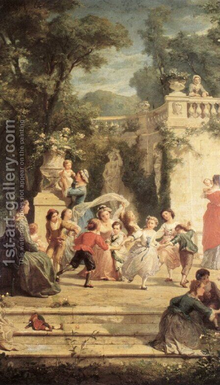 The Games of Summer by Adolphe Jourdan - Reproduction Oil Painting
