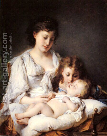 Maternal Affection by Adolphe Jourdan - Reproduction Oil Painting