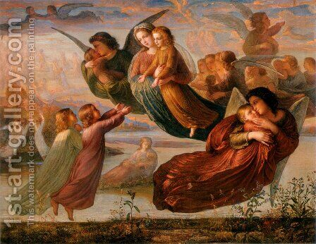 Le Poème de l'âme - Souvenirs du ciel (The Poem of the Soul - Memory of Heaven) by Anne-Francois-Louis Janmot - Reproduction Oil Painting