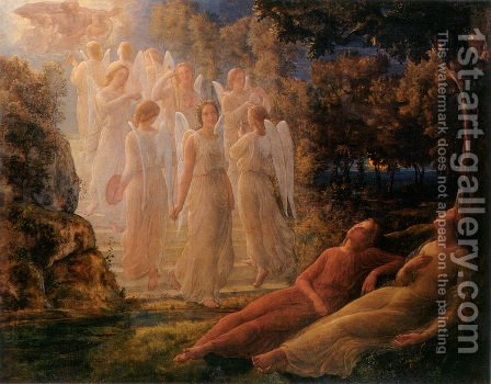 Le Poème de l'âme - L'Échelle d'or (The Poem of the Soul - The Golden Ladder) by Anne-Francois-Louis Janmot - Reproduction Oil Painting