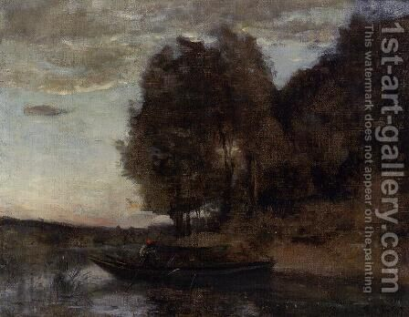 Fisherman Boating along a Wooded Landscape by Jean-Baptiste-Camille Corot - Reproduction Oil Painting