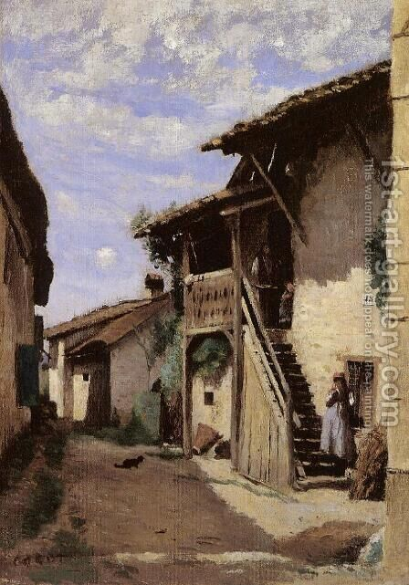A Village Steeet, Dardagny by Jean-Baptiste-Camille Corot - Reproduction Oil Painting