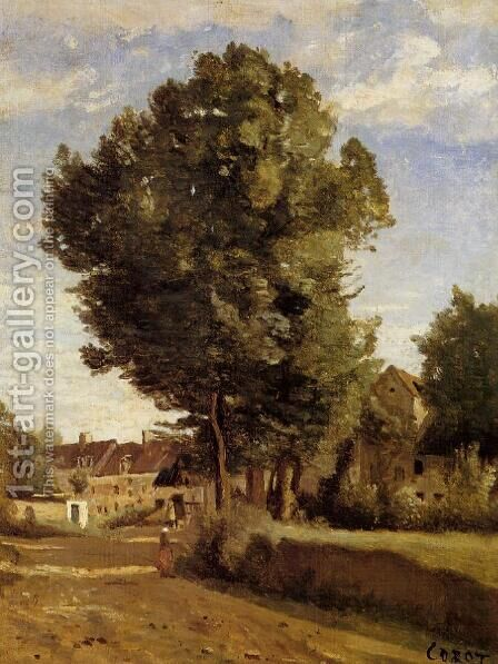 A Village near Beauvais by Jean-Baptiste-Camille Corot - Reproduction Oil Painting