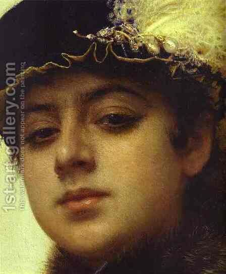 Portrait of a Woman [detail] by Ivan Nikolaevich Kramskoy - Reproduction Oil Painting