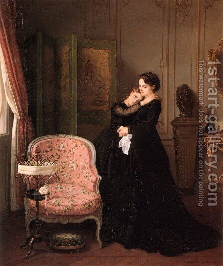 Consolation by Auguste Toulmouche - Reproduction Oil Painting