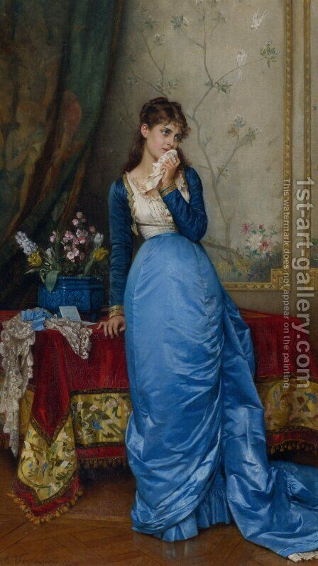 The Letter by Auguste Toulmouche - Reproduction Oil Painting
