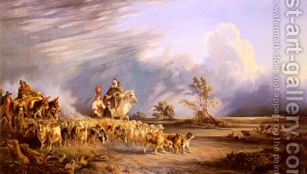 Goat Herders In A Neapolitan Landscape by Consalvo Carelli - Reproduction Oil Painting