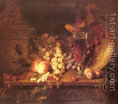 Still Life with Fruit, a Glass of Wine and a Bronze Vessel on a Ledge by Blaise Alexandre Desgoffe - Reproduction Oil Painting