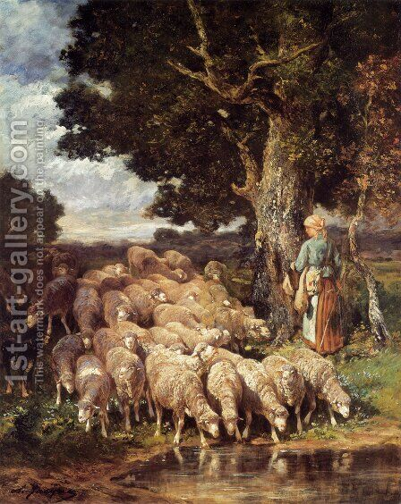 A Shepherdess with her Flock near a Stream by Charles Émile Jacque - Reproduction Oil Painting