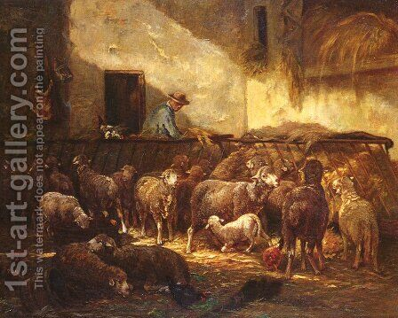 A Flock Of Sheep In A Barn by Charles Émile Jacque - Reproduction Oil Painting