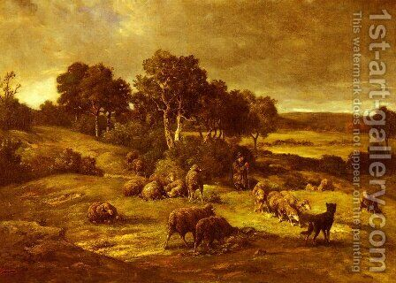 Le Troupeau (The Herd) by Charles Émile Jacque - Reproduction Oil Painting