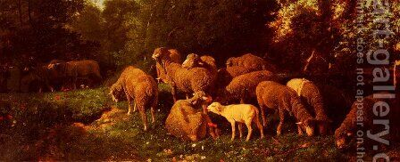 Les Moutons Dans Le Sous-Bois (Sheep in the Undergrowth) by Charles Émile Jacque - Reproduction Oil Painting