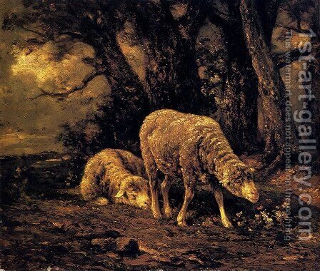 Sheep In A Forest by Charles Émile Jacque - Reproduction Oil Painting