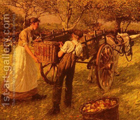 A Sussex Orchard by Henry Herbert La Thangue - Reproduction Oil Painting