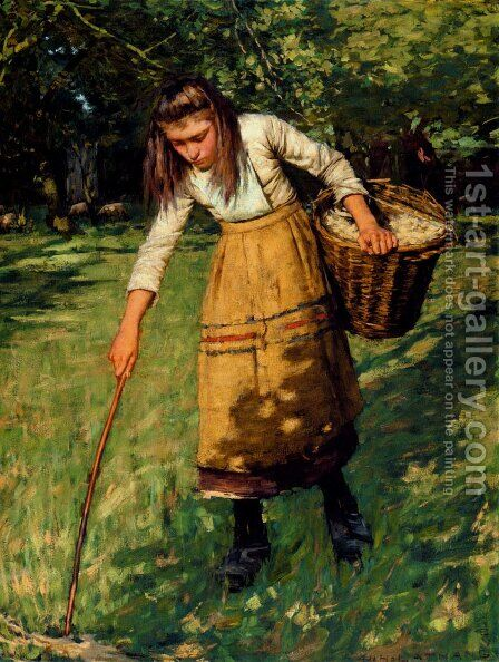 Gathering Wool by Henry Herbert La Thangue - Reproduction Oil Painting