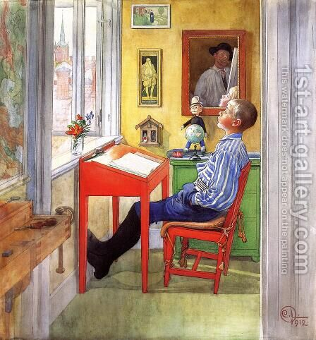 Esbjorn Doing His Homework by Carl Larsson - Reproduction Oil Painting