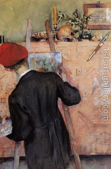 The Still Life Painter by Carl Larsson - Reproduction Oil Painting