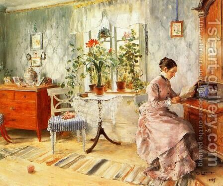 An Interior with a Woman Reading by Carl Larsson - Reproduction Oil Painting