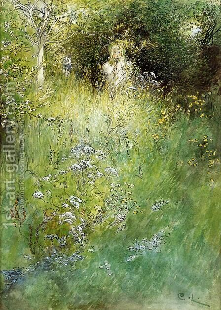A Fairy, or Kersti, and a View of a Meadow by Carl Larsson - Reproduction Oil Painting