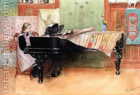 Skalorna (Playing Scales) by Carl Larsson - Reproduction Oil Painting