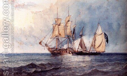A Man-O-War And Pirate Ship At Full Sail On Open Seas by Clarkson Stanfield - Reproduction Oil Painting