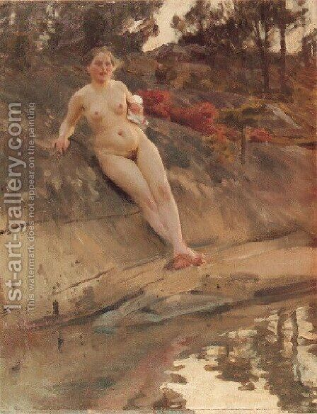 Solbadande flicka (Sunbathing girl) by Anders Zorn - Reproduction Oil Painting
