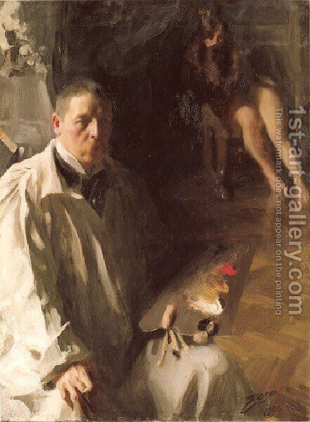 Självporträtt med modell (Self-portrait with a model) by Anders Zorn - Reproduction Oil Painting