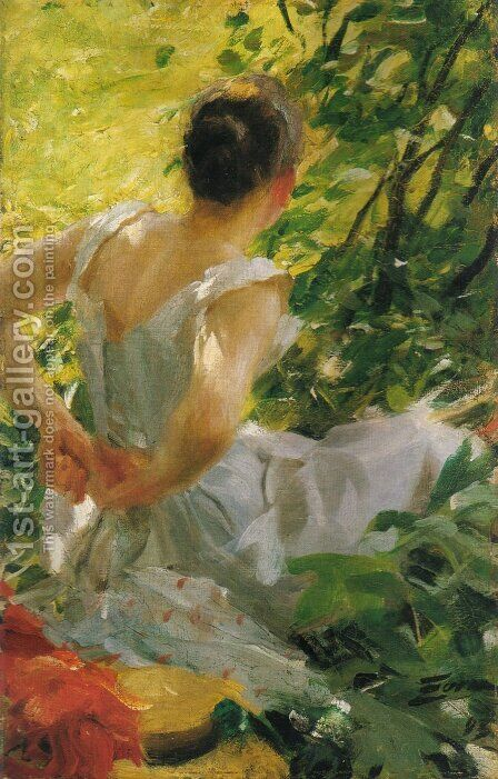 Kvinna som klär sig (Woman dressing) by Anders Zorn - Reproduction Oil Painting