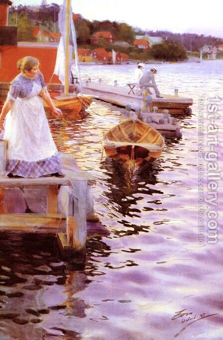 Vågskvalp (Lappings of the waves) by Anders Zorn - Reproduction Oil Painting