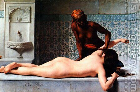 Le Massage scene de Hammam (The Massage in the Harem) by Edouard Bernard Debat-Ponsan - Reproduction Oil Painting