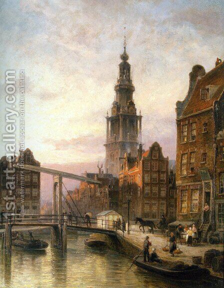 The Zuider Kerk at Dusk, Amsterdam by Cornelis Christiaan Dommelshuizen - Reproduction Oil Painting