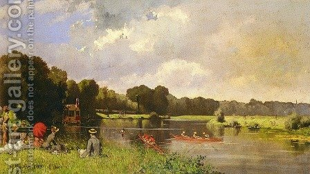 Au Bord De La Riviere by Herminie Gudin - Reproduction Oil Painting